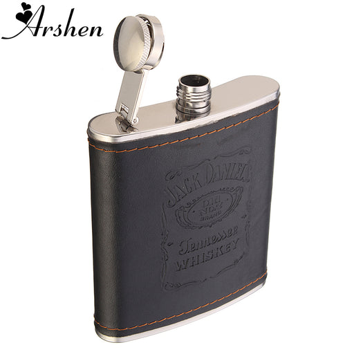 Arshen Top Quality 7oz Stainless Steel Hip Flask Flagon Liquor Whiskey Wine Pot Leather Cover Bottle Travel Tour Barware