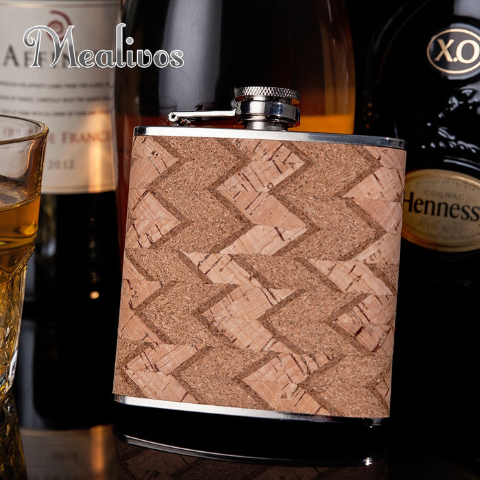 Hot selling 6oz wooden wrapped 304# stainless steel hip flask personalized liquor flagon whisky vodka rum alcohol flask gift