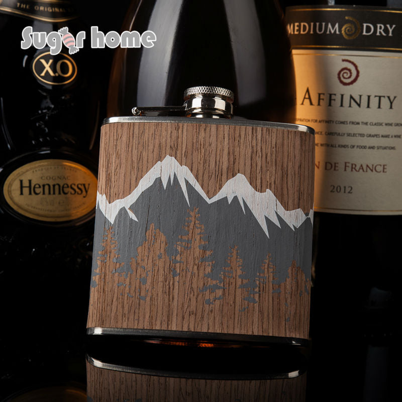 Hot selling 6oz wooden wrapped 304# stainless steel hip flask Flask for Alcohol Bottle vodka Whiskey bottle groomsmen gifts