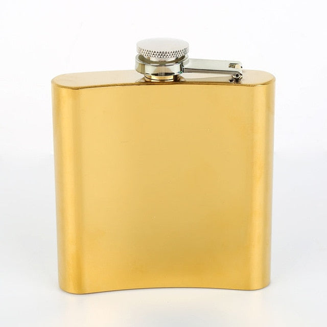 Portable 6oz Hip Flask Gold Plated Gradient Color Rainbow Colored Stainless Steel Flask Screw Cap Whiskey Wine Bottle