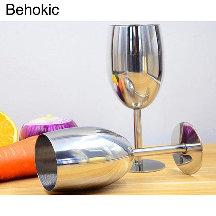 Behokic 250ml Stainless Steel Wine Glasses Beer Water Juice Whiskey Cup Antiknock Drinkware for Outdoor Camping BBQ Party Picnic
