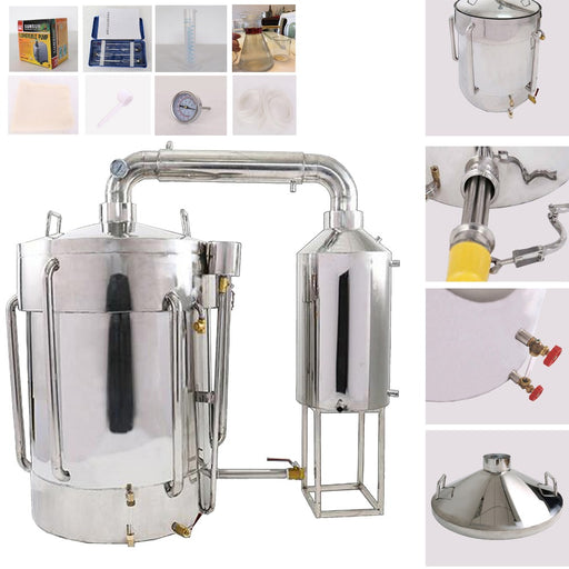 35L-160L New Stainless Moonshine Still Water Distiller Essential Oil Alcohol Pure Dew w/Essential Oil Separator Brewing Kits