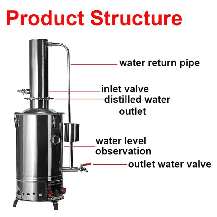 5L Litres Normal Type New Stainless Electric Medical/Home/Lab Pure Water Distiller Filter Purifier Brew Kits