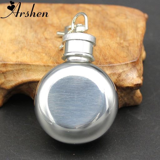 Arshen 1 Oz 28ml Mini Stainless Steel Hip Flask Round Wine Jug With Keychain Liquor Alcohol Whiskey Wine Pot Portable Drinkware
