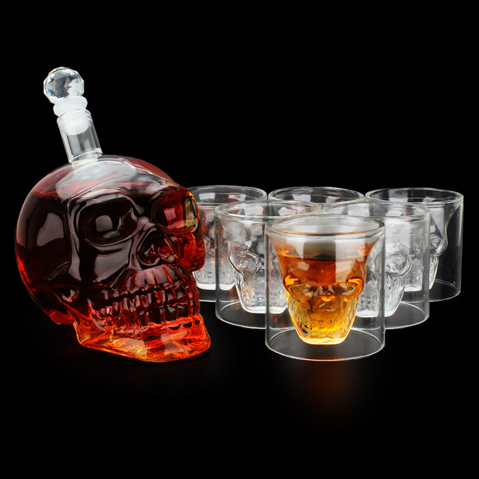 Creative Gothic Wine Vodka Decanter Skull Head Bottles Wine set inclund 1PCS 1000ml wine jug and 6PCS 75ml wine glasses