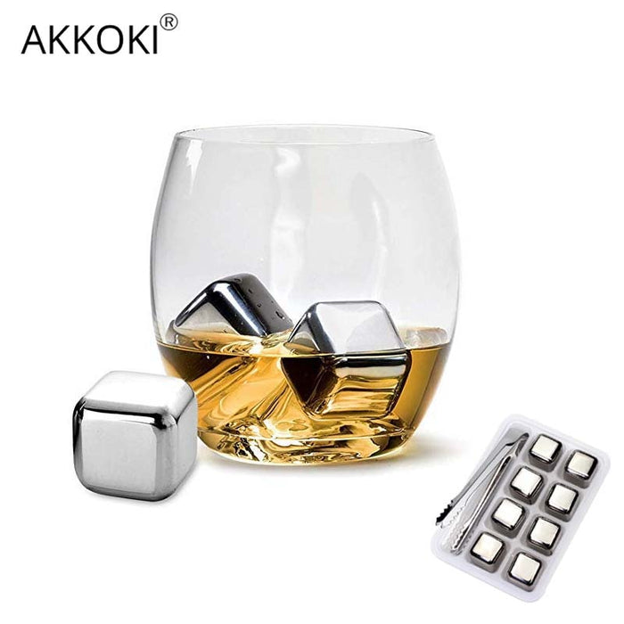 Reusable Stainless Steel Stones for Whiskey Stone Cubes for Wine Beers Juice Champagne Kitchen Accessories Gadgets