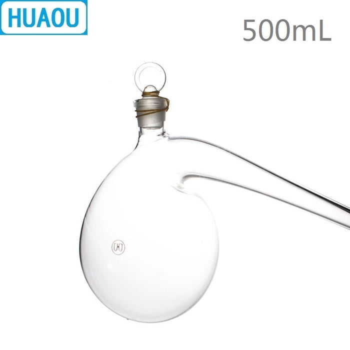 HUAOU 500mL Retort with Ground - in Glass Stopper Borosilicate 3.3 Glass Distillation Distilling Flask Laboratory Chemistry
