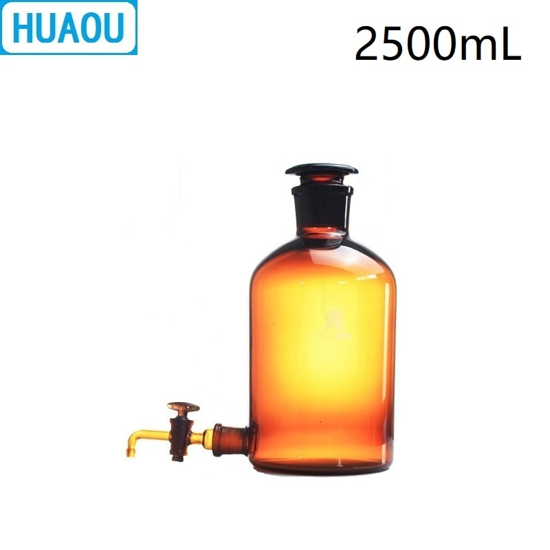 HUAOU 2500mL Aspirator Bottle 2.5L Amber Brown with Ground - In Glass Stopper and Stopcock Distilled Water Wine Liquor