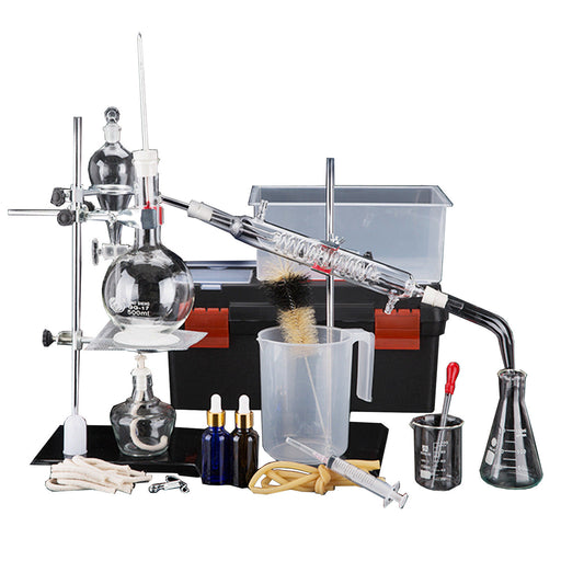 YUEWO 44pcs New 500ml Lab Essential Oil Distillation Apparatus Water Distiller Purifier Glassware Kits w/Tool Case Condenser Pipe