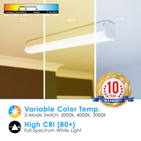 4ft Strip Fixture LED Tube CCT Switch 3000K, 4000K, 5000K