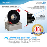 "3"" Gimbal 8W J-Box Canless Downlight Black Trim Dimmable"