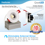 "3"" Inch Gimbal 8W J-Box Canless Downlight White Trim Dimmable"