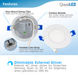 "LED 4"" INCH WAFER CANLESS DOWNLIGHT CCT SWITCH 3000K, 4000K, 5000K"