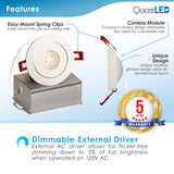 "LED 4"" J-Box Round Ultra Thin Gimbal Tilt Canless Downlight 6W"