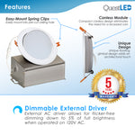 "6"" J-Box Round Panel Tilt Downlight CCT Selectable"