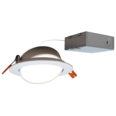 "4"" J-Box Round Panel Tilt Downlight CCT Selectable"