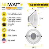 LED 8 Inch Canless Commercial Downlight 12W/16W/22W Changeable; 1200/1600/2200 Lumens Selectable; 30/40/50K Changeable, 100-277V, CRI 80, 0-10V Dimmable