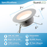 "LED 5/6"" Inch Retrofit Downlight 15W Dimmable"