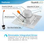 "LED 6"" Inch Retrofit Square Downlight 16.5W Dimmable"
