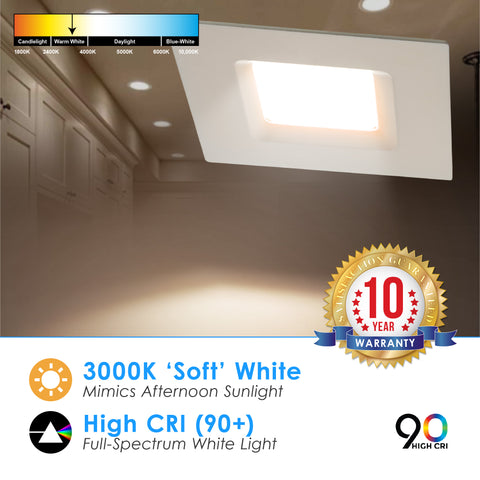 LED 4-Inch 10W Dimmable Square Retrofit Downlight