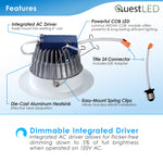 "LED 6"" Inch Retrofit Downlight 18W Dimmable 120-277V"