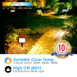 Mini 15W Flood/Landscape Fixture - Bronze Finish - TRI Color Switch 3000K, 4000K, 5000K