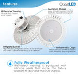 LED UFO Highbay 100W Dimmable 0-10v White Finish 4000K