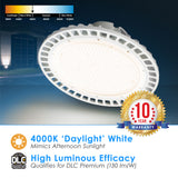 LED UFO Highbay 240W Dimmable 0-10v White Finish 4000K