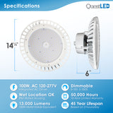 LED UFO Highbay 100W Dimmable 0-10v White Finish 5000K