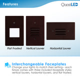 LED Step Light White Bronze 2W; Interchangeable Plate Flat Frosted (Horizontal Louver/Vertical Louver)