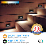 LED Step Light White Finish 2W; Interchangeable Plate Flat Frosted (Horizontal Louver/Vertical Louver)
