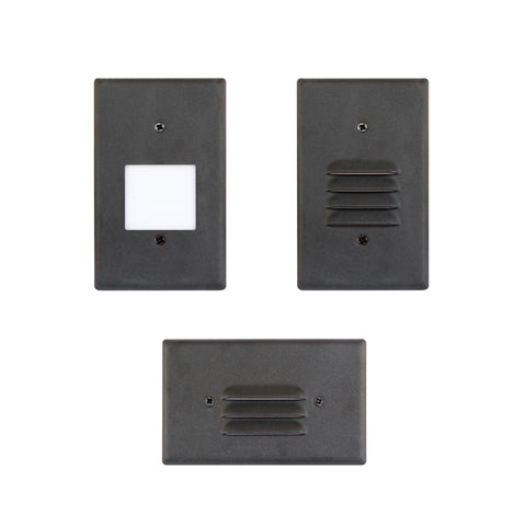 LED Step Light Black Finish 2W; Interchangeable Plate Flat Frosted (Horizontal Louver/Vertical Louver)