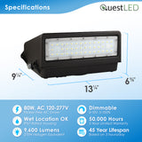 LED Wall Pack Full-Cutoff Dimmable 5000K