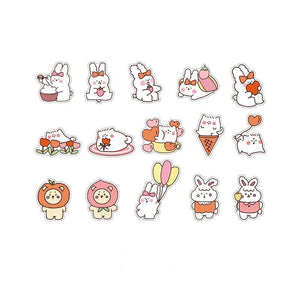 15PC Kawaii Rabbit Bear Decorative Stickers-my kawaii office