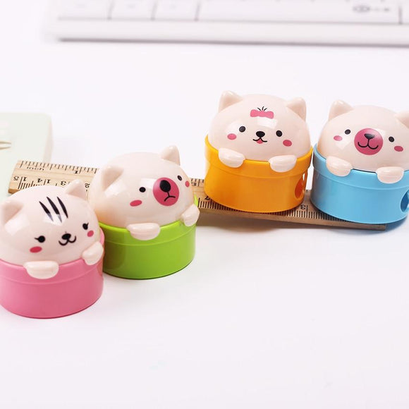 1PC Cat and Bear Double Holes Pencil Sharpener-my kawaii office