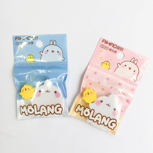 1PK Molang and Duck Rubber Erasers-my kawaii office
