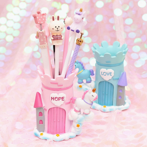 1PC Kawaii Unicorn Castle Pencil Holder