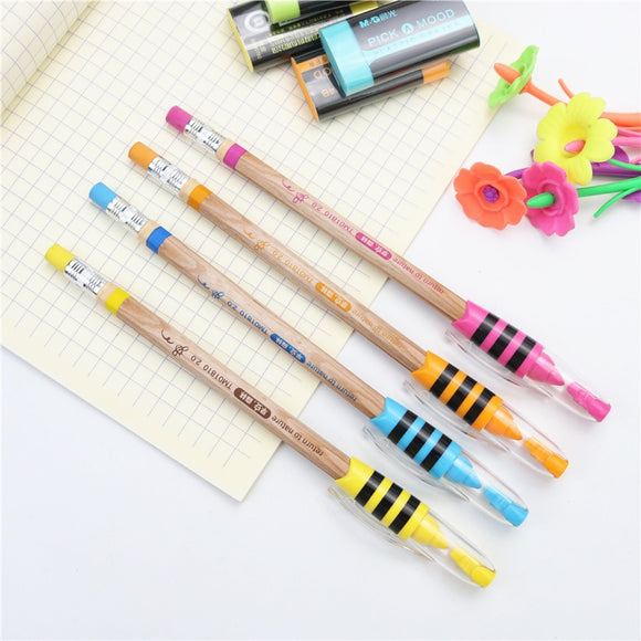 2PC Cute Little Bee Mechanical Pencils With Mini Sharpener and Eraser-my kawaii office