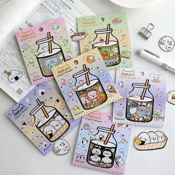 36 pcs/set Korean Import Brand Nekoni Cute Animals Sushi Stationery Stickers Scrapbooking Little Diary Stickers-my kawaii office