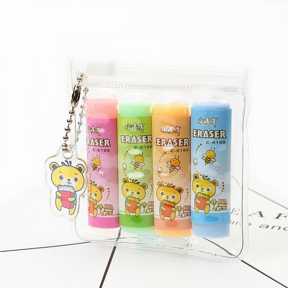 4PC Set Kawaii Bear Color Eraser-my kawaii office