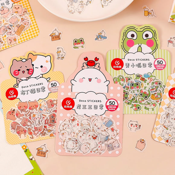 50PC Kawaii Animals Daily Funny Stickers-my kawaii office