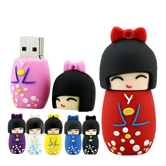 1PC Kawaii Japanese Dolls Kimono Girl USB Memory Stick-my kawaii office