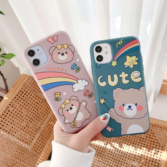 1PC Rainbow Bear Soft Silicone Case For iPhone-my kawaii office