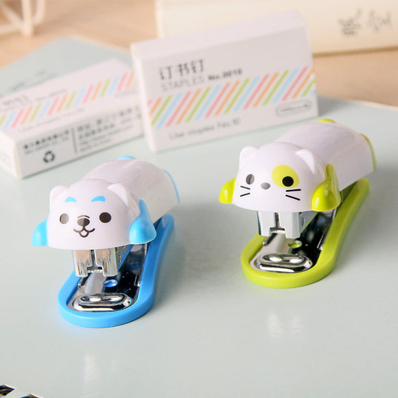 1 or 2PC Kawaii Dog Cat Mini Stapler Set-my kawaii office