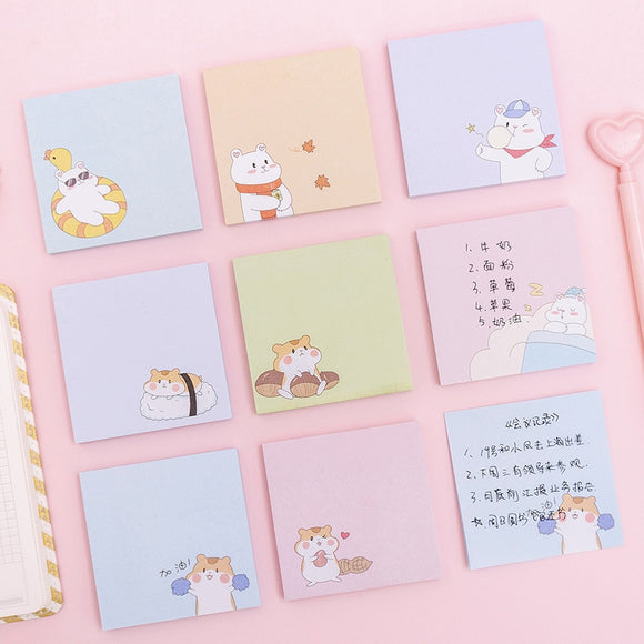 1PC Kawaii White Bear Hamster Memo Pad-my kawaii office