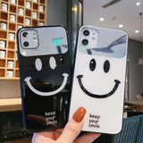 1PC Luxury Mirror Smiley Face Phone Case For iPhone-my kawaii office