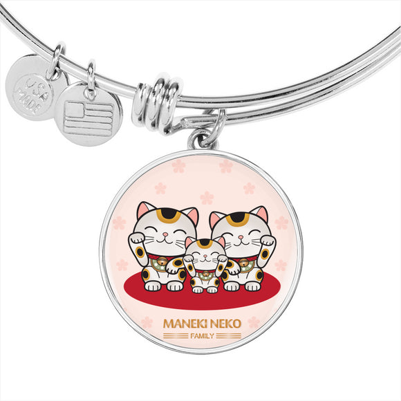 Maneki Neko Family Bangle Bracelet-my kawaii office