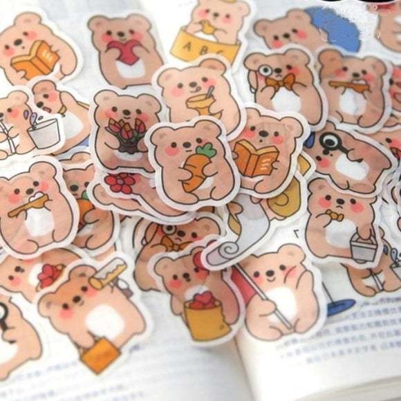 40PC Kawaii Chunky Little Animals Washi Diary Stickers-my kawaii office