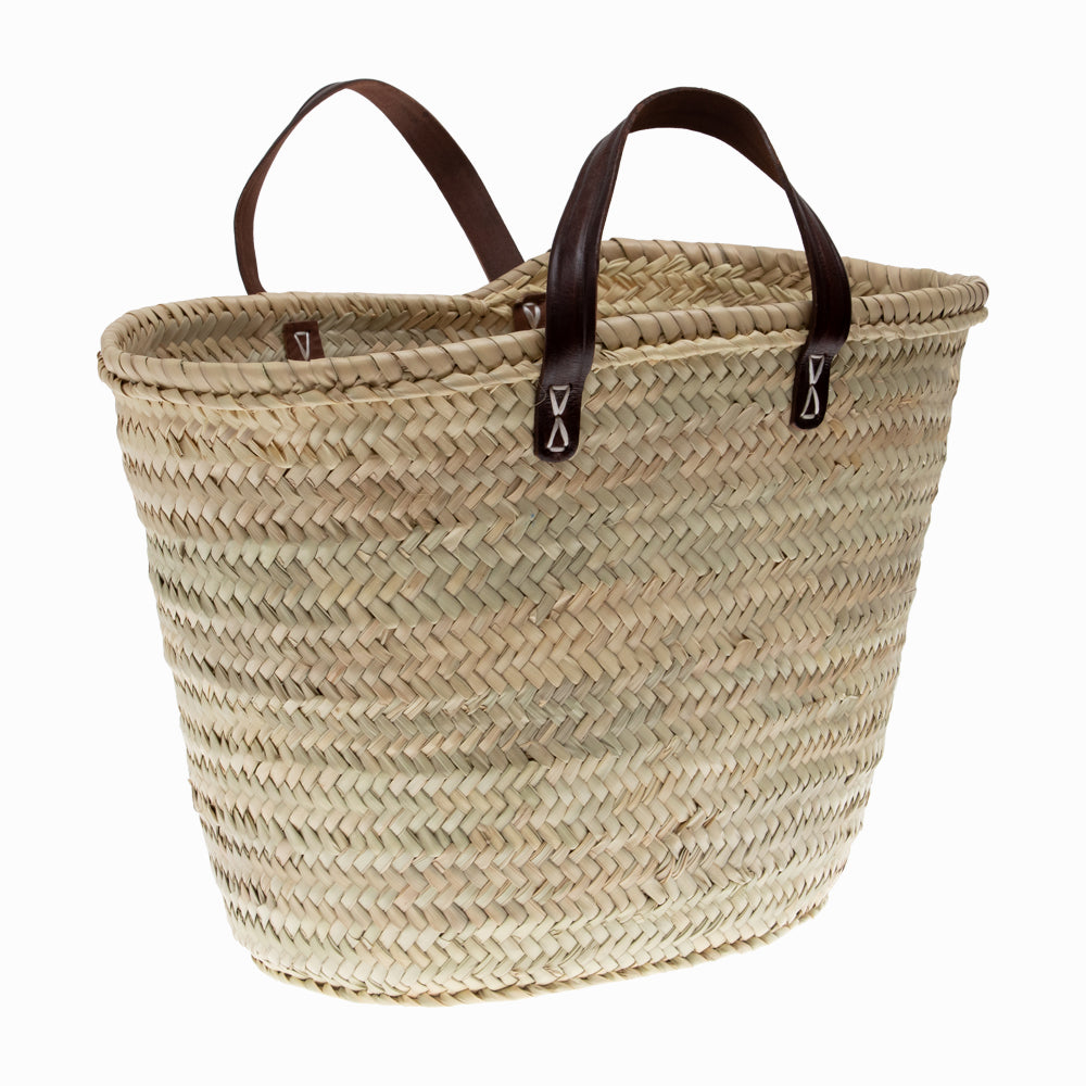 French Leather Handle Basket