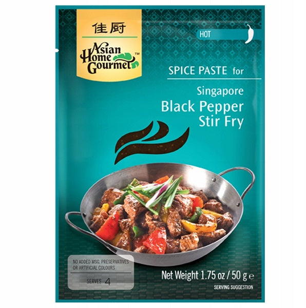 Singapore Black Pepper Stir Fry Paste Packet 50g by AHG
